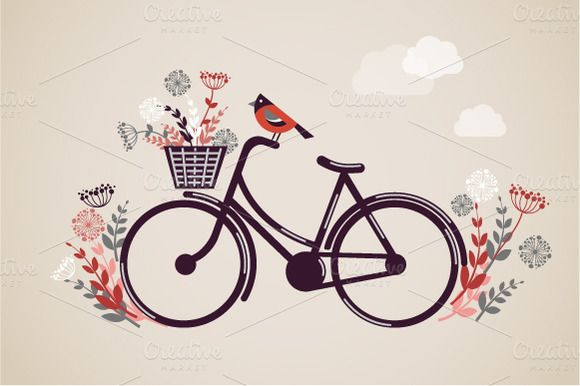 Check out Vintage Retro Bicycle illustration by Marish on Creative Market