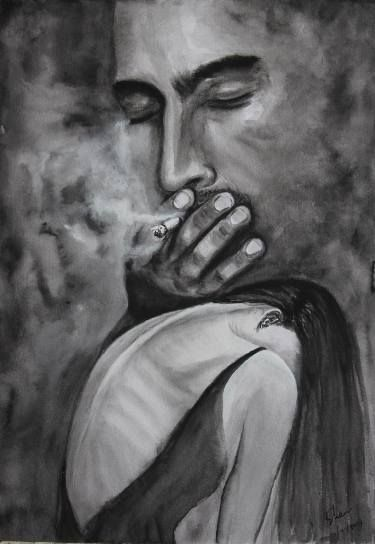 saatchi art artist shaw luo drawing the smoker art