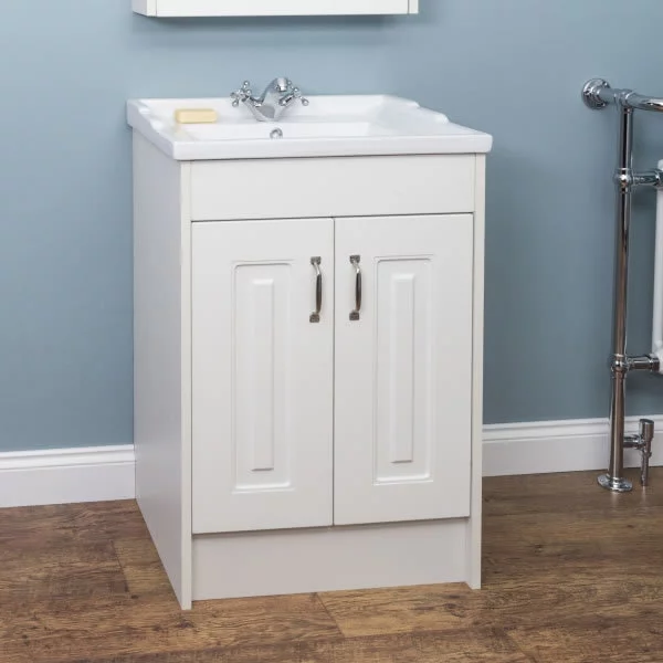 Park Lane White Floor Standing Bathroom Sink Cabinet 600mm Width