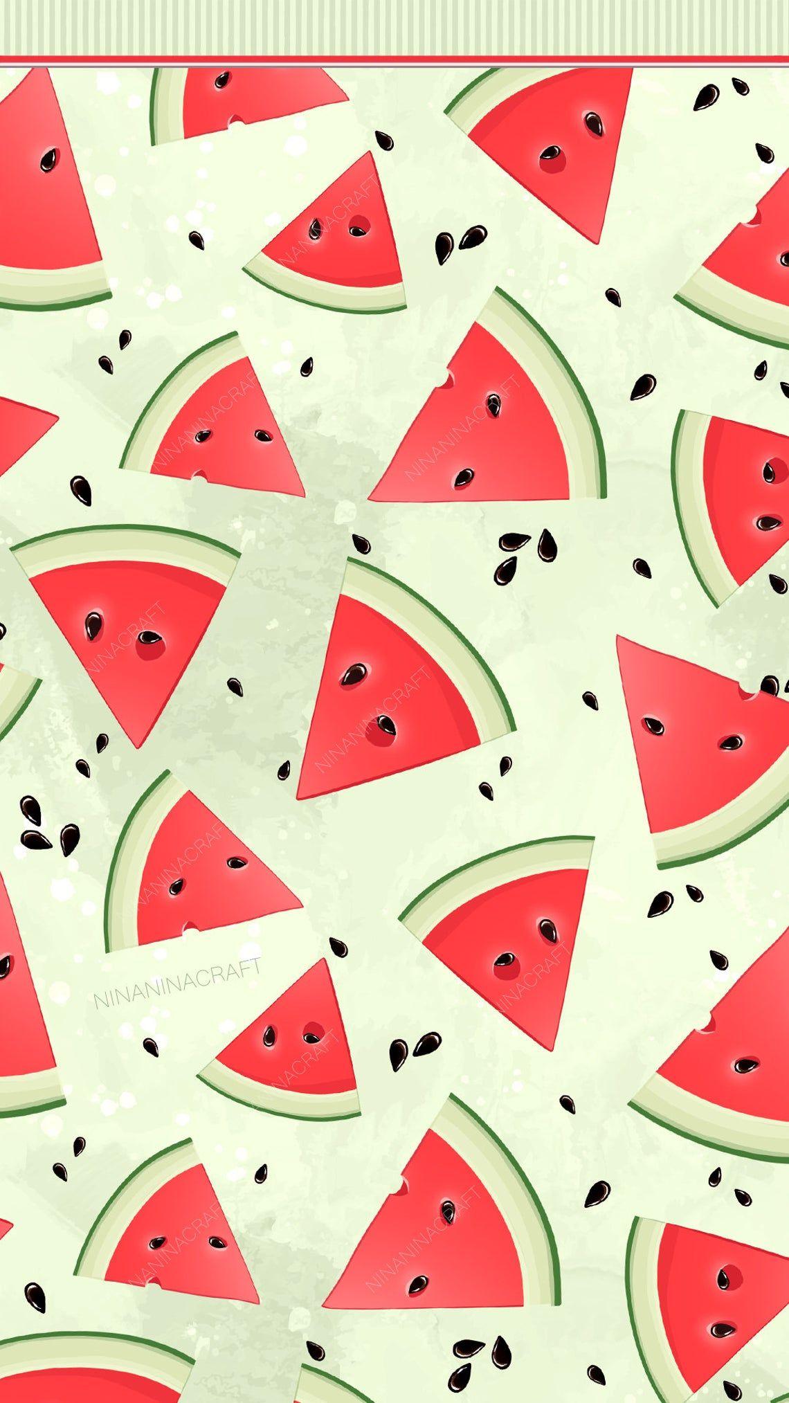 Watermelon Wallpaper Red Green Cute Watermelon Clip Art Watermelon Digital Etsy Ninaninacraft Watermelon Wallpaper Cute Patterns Wallpaper Cute Watermelon