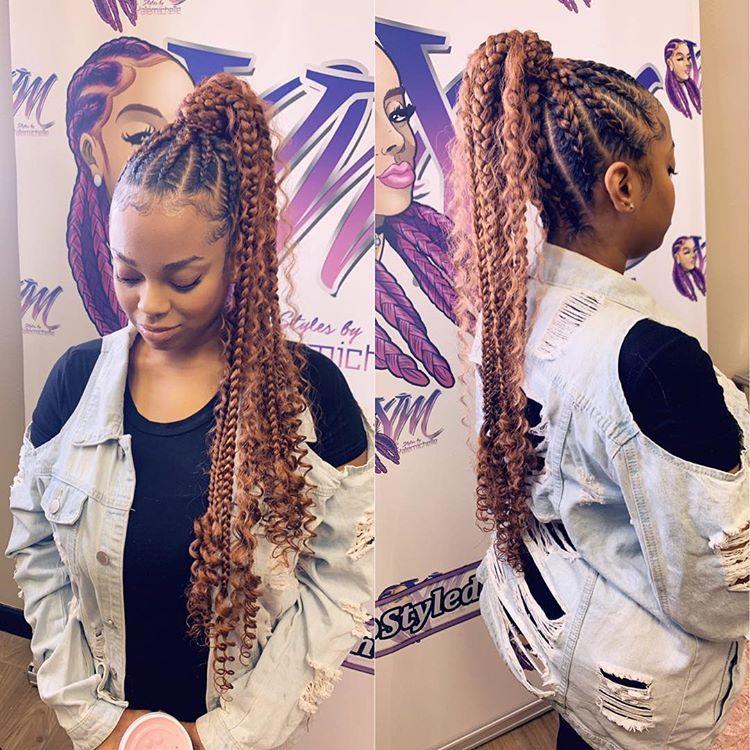 Boho Feedin Ponytail Feed In Braids Hairstyles Cornrow