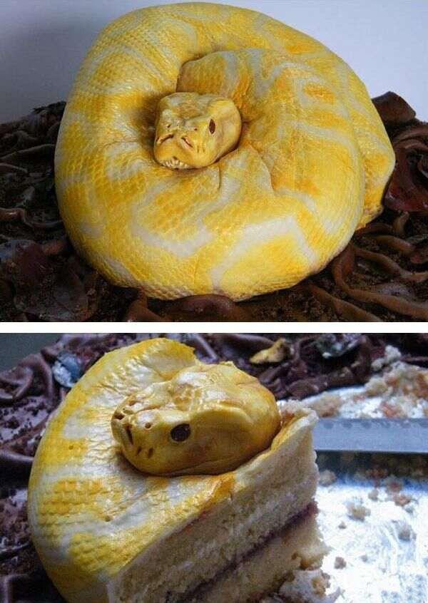 торт в виде змеи фото поздравить близких, вручив