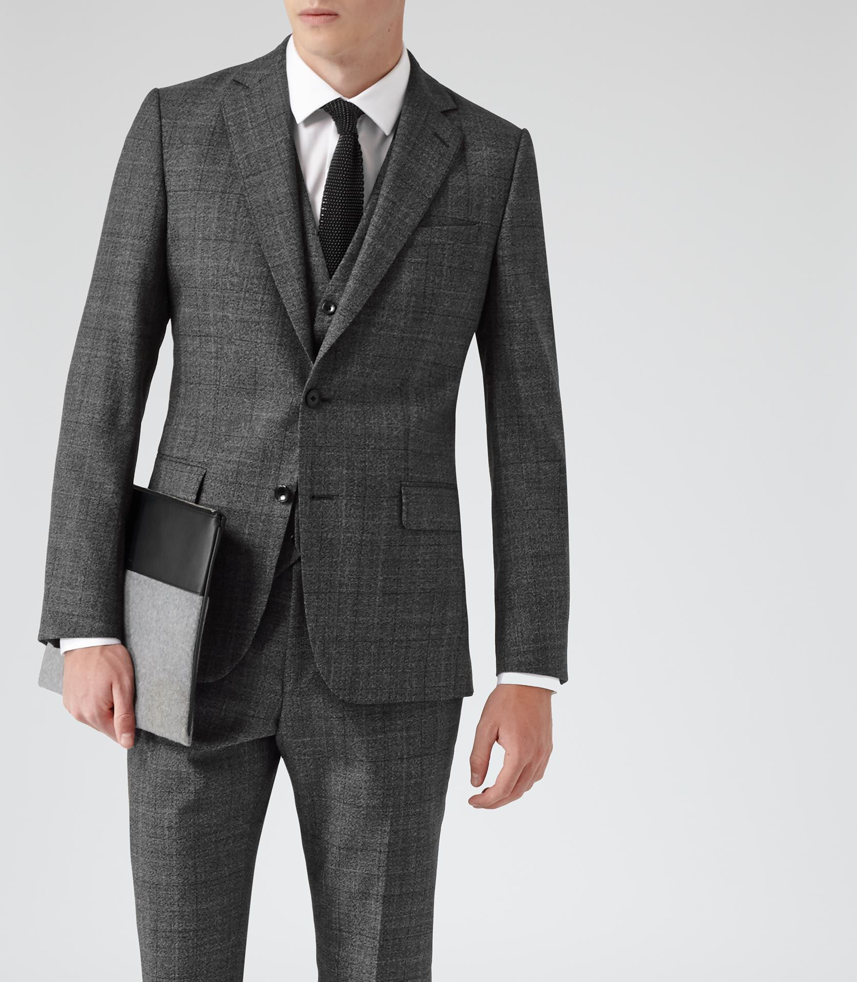 Mens Dark Grey Modern-fit Check Suit - Reiss Galata | Mens Fashion ...