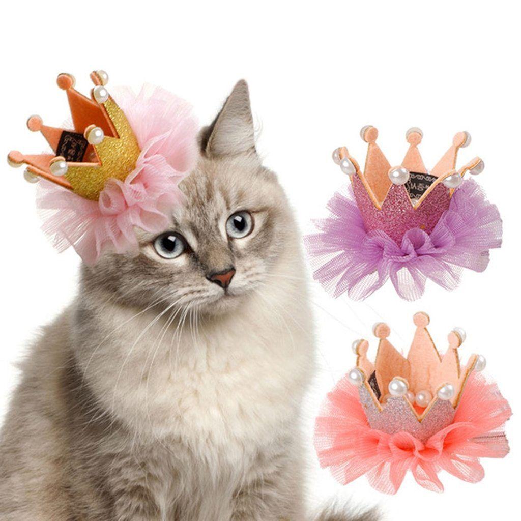 Cute lace princess crown dog cat pet hair clip wedding