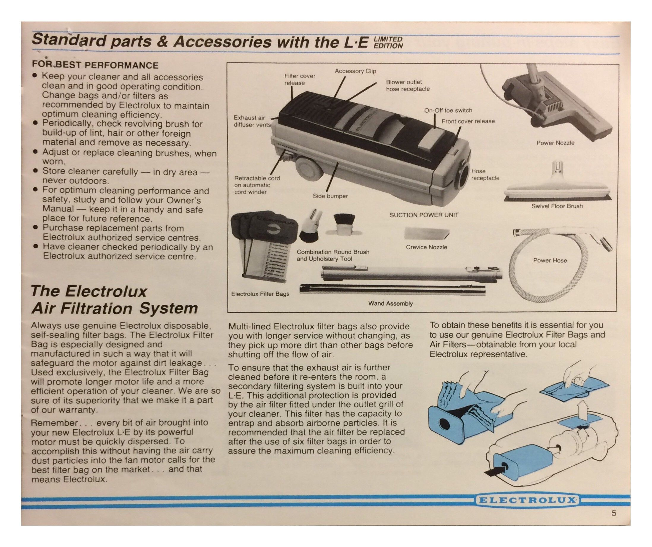 le electrolux limited edition vacuum cleaner manual pg 5 rh pinterest com Electrolux Carpet Shampooer Parts Electrolux Shampooer Manual