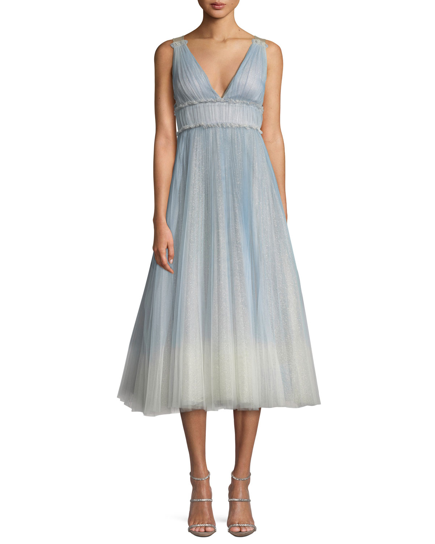 b56e7be7fa Marchesa Notte Ombre Pleated Tulle Tea-Length Cocktail Dress ...