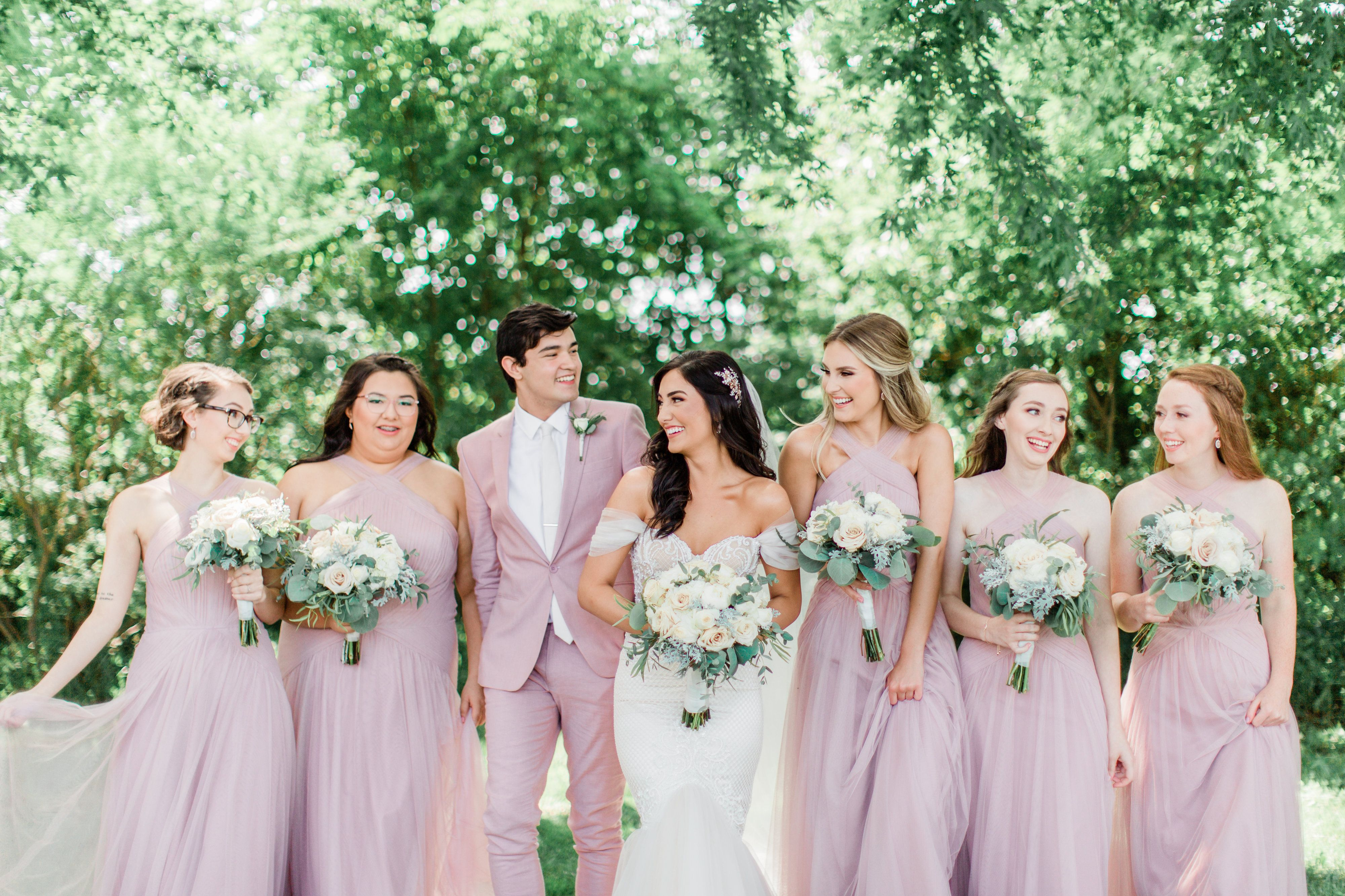 Bridal Party With Bridesman Man Of Honor In Matching Pink Suit Male Bridesmaid Bridesman Wedding Outfit