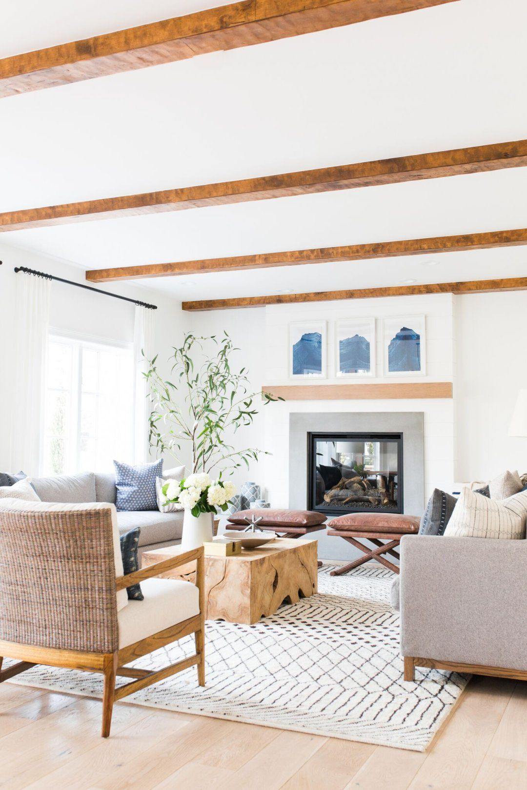 Casual, eclectic, interior design. Bright and airy living room inspiration