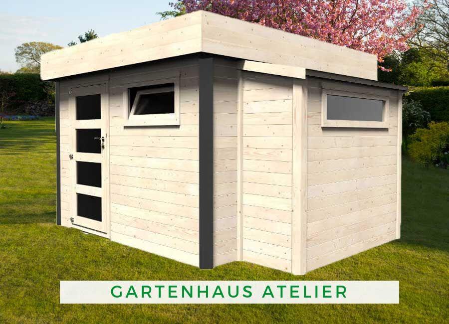 Gartenhaus Atelier 28mm Gartenhaus, Gartenhaus flachdach