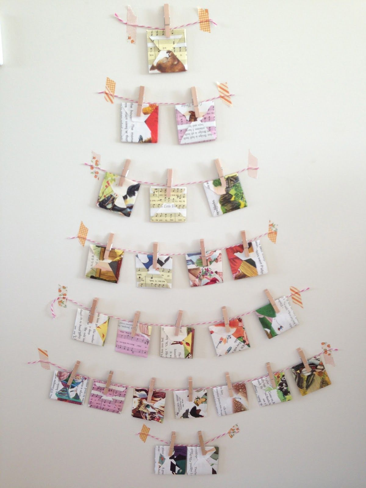 Little golden nook chistmas trees for small spaces - Christmas card wall holder ...
