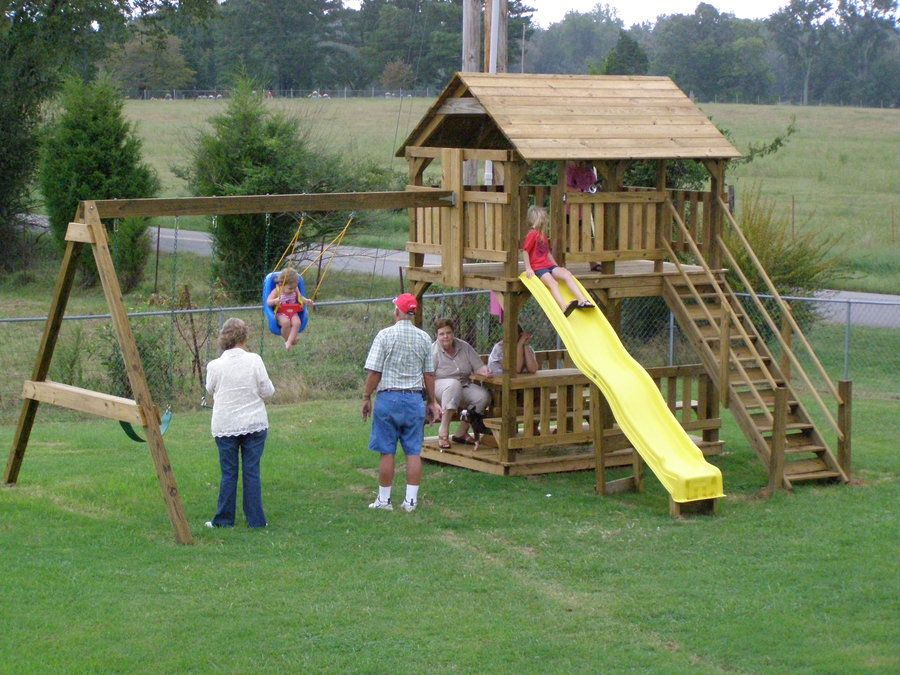 Playhouse swing set plans aug 27 2013 the first thing you for Building a wooden swing