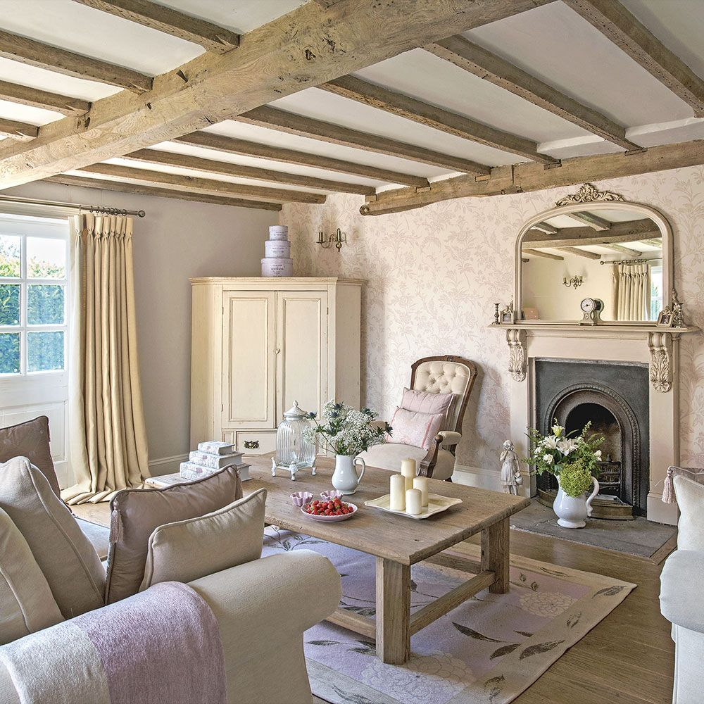 Regency country cottage living room with exposed beams in