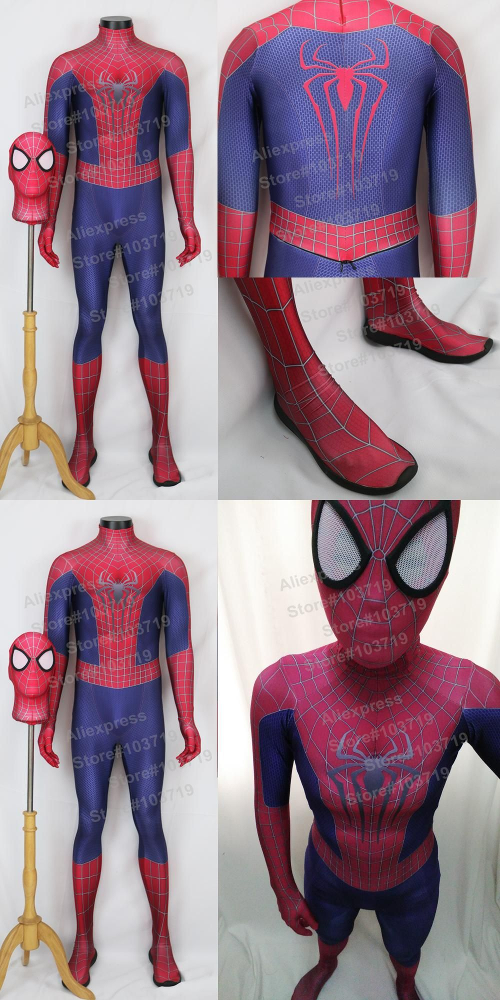 Hero Catcher High Quality 3D Pattern Amazing Spiderman Suit Spiderman Costume With Mask Hero Spiderman Spandex Suit & Hero Catcher High Quality 3D Pattern Amazing Spiderman Suit ...