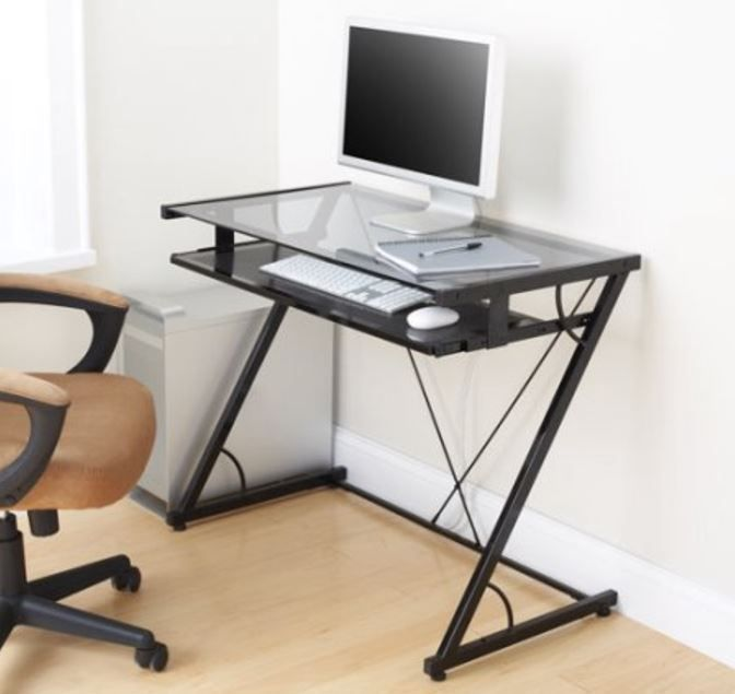 Glass Top Computer Desk Metal Student Desks Small Writing Home Office Black Mode Mainstays Modern Glass Top Desk Glass Computer Desks Home Office Furniture