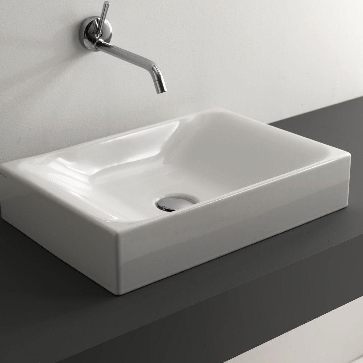 Cento Ceramic Ceramic Rectangular Vessel Bathroom Sink Bathroom Sink Ws Bath Collections Contemporary Bathroom Sinks