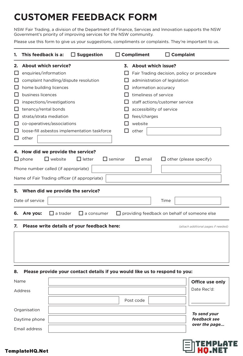 Free Customer Feedback Form Example In 2020 Customer Feedback Form Example Teacher Evaluation