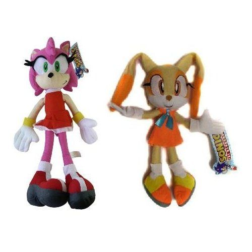 Amazon Com Sonic The Hedgehog 16 Plush Set Of 2 Includes Amy Rose Cream Toys Games Sonic Plush Toys Doll Plushies Sonic The Hedgehog
