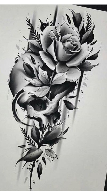 Skull Rose In 2020 Skull Rose Tattoos Rose Tattoo Design Skull Tattoo Flowers