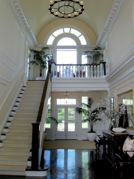 Open To Below Foyer : Open foyer arched window overlooking stairs french doors