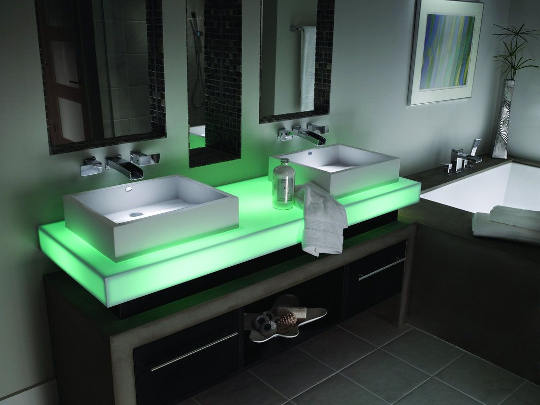 Corian countertop with LED lights. | Master bathroom | Pinterest ...