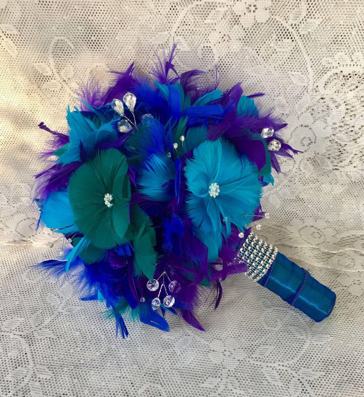 Feather Wedding Bouquet, Peacock Bouquet,Peacock Wedding