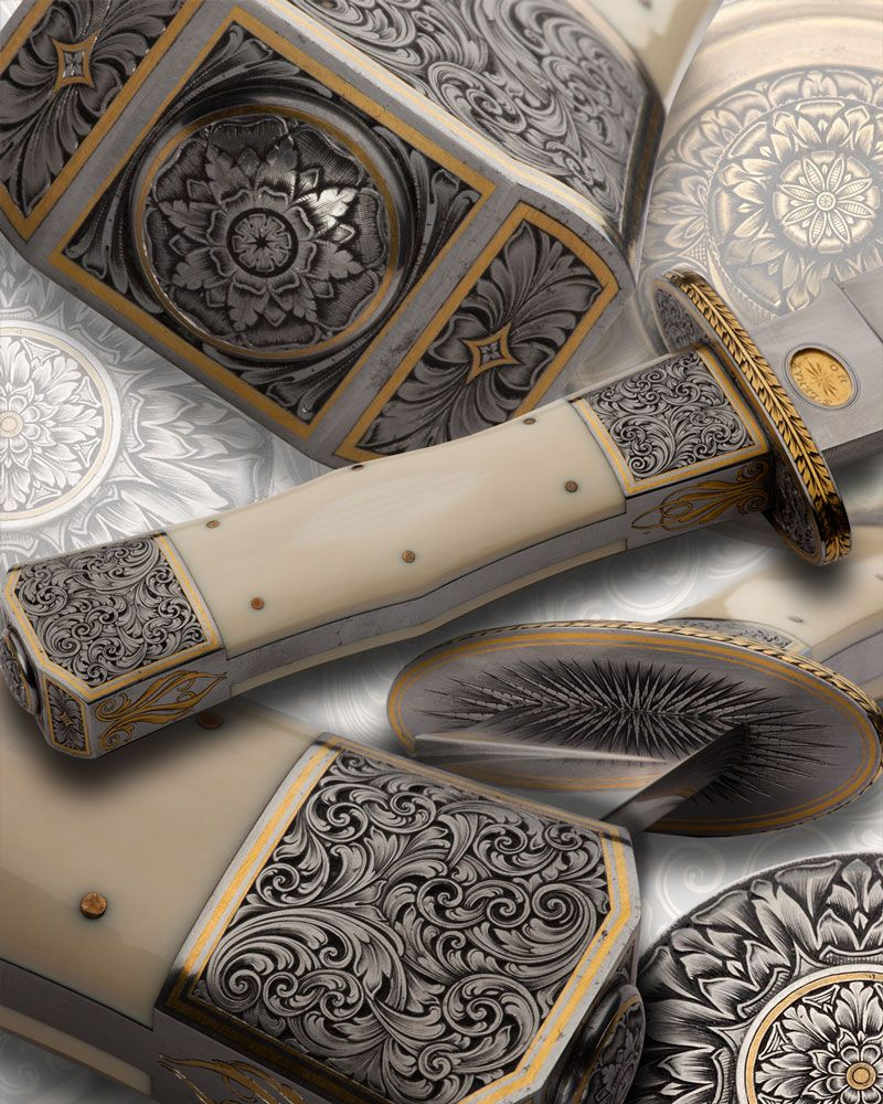 Sam Alfano, engraver - This makes me want a knife. This hand-engraved piece is stunning! Note to self, start making lots of $$ and commission a piece. Linked to site.