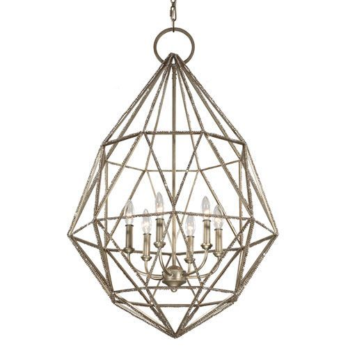 gemma burnished silver sixlight chandelier