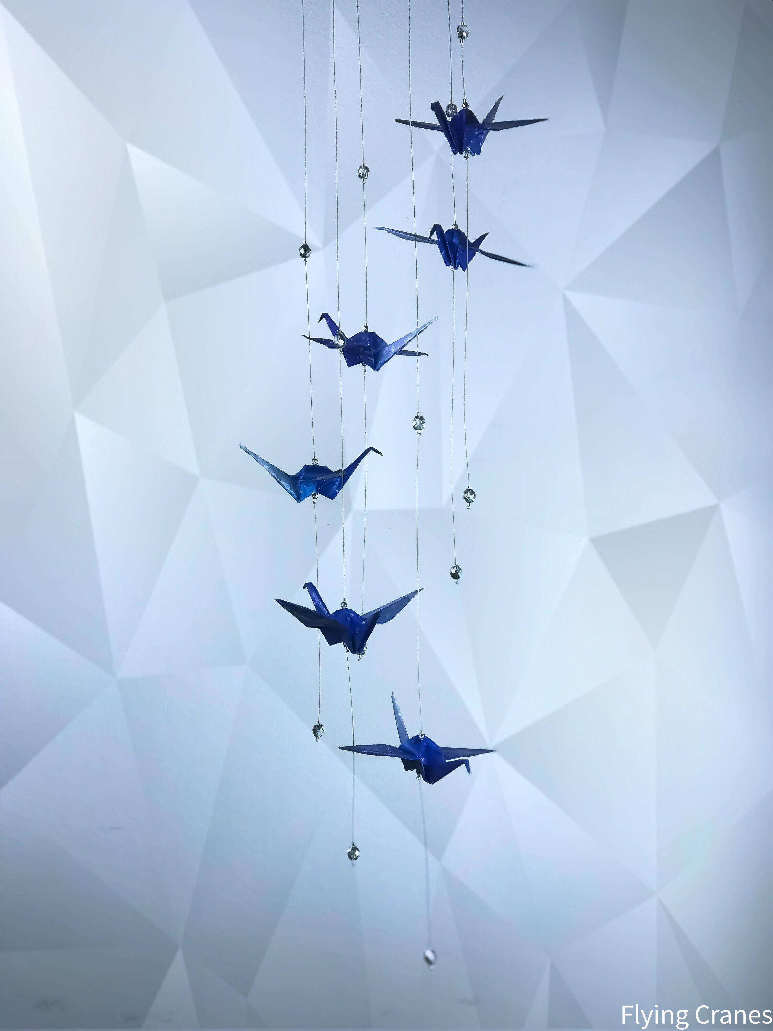Photo of Origami mobile Papierkranich Sterne kosmische Baby mobile Hochzeitsgeschenk blaue Geometrie