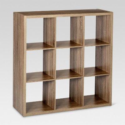 9 Cube Organizer Shelf Light Brown 13 Threshold Weathered Gray