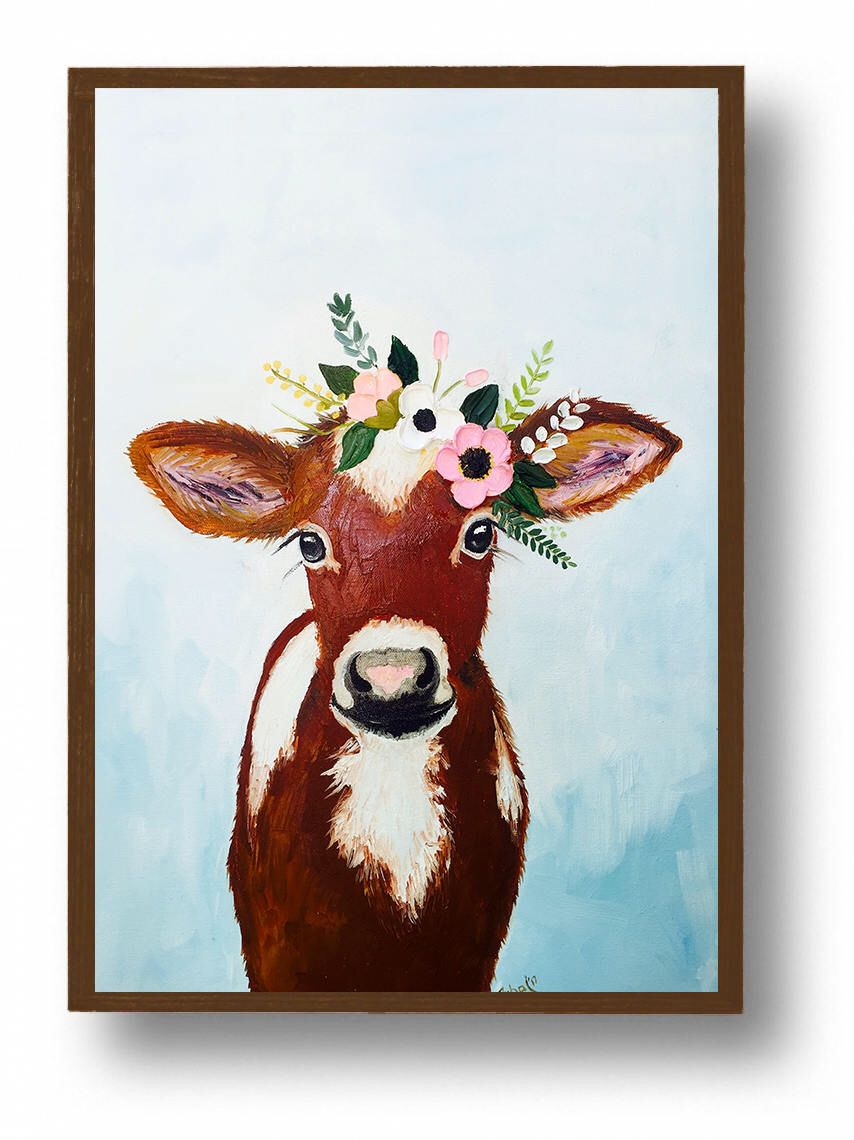 Cow Painting On Canvas Calf Painting Original Oil Painting Farmhouse Decor Cow Art Canvas Wall Decor By Zuhalkana Cow Paintings On Canvas Cow Painting Art