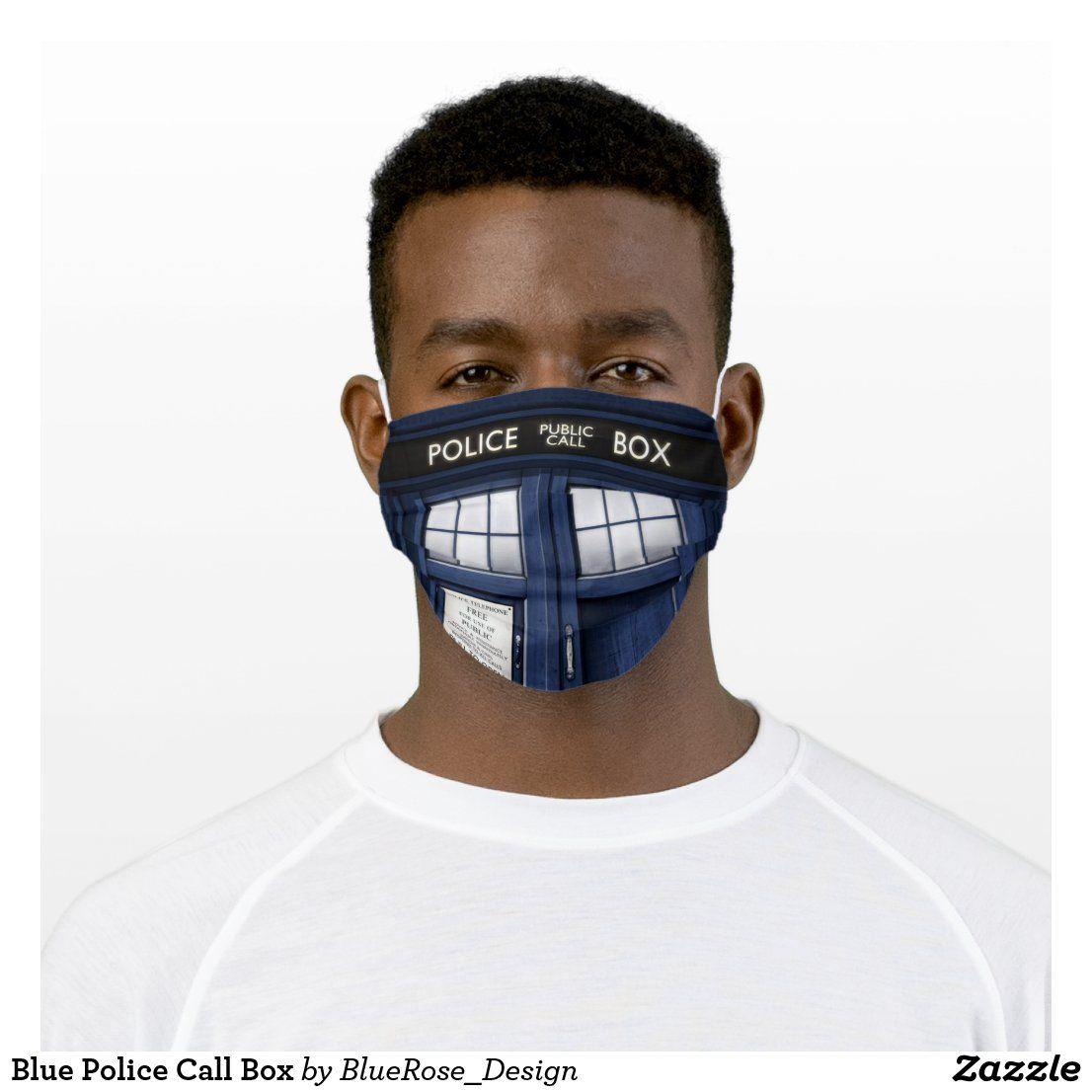 Blue Police Call Box Cloth Face Mask   Zazzle.com
