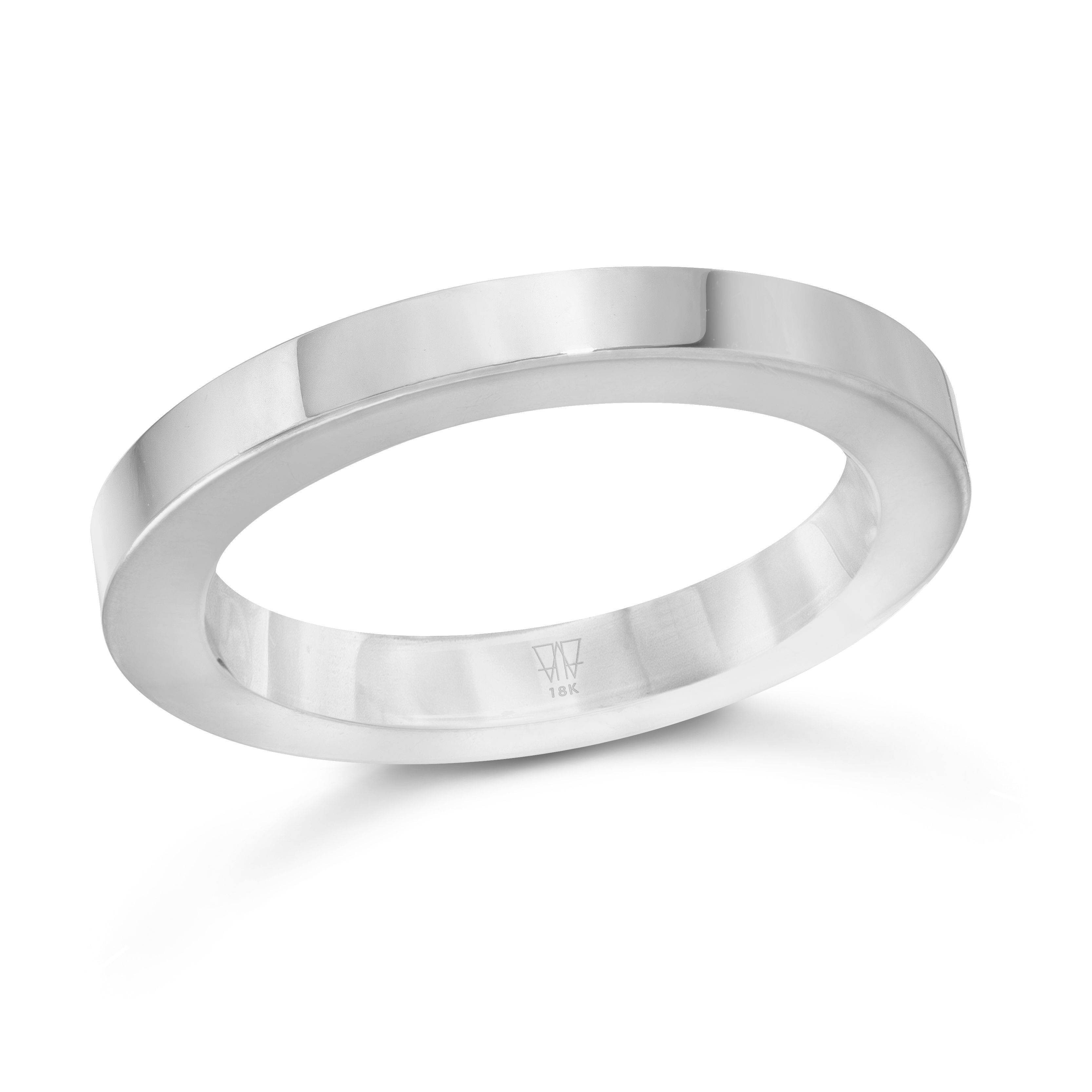 GRANT 18K White Gold 3mm Cubed Band Ring Rings, Band