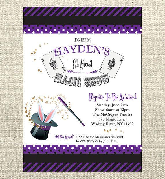 Magic Show Birthday Invitation Printable Cute ideas for kids
