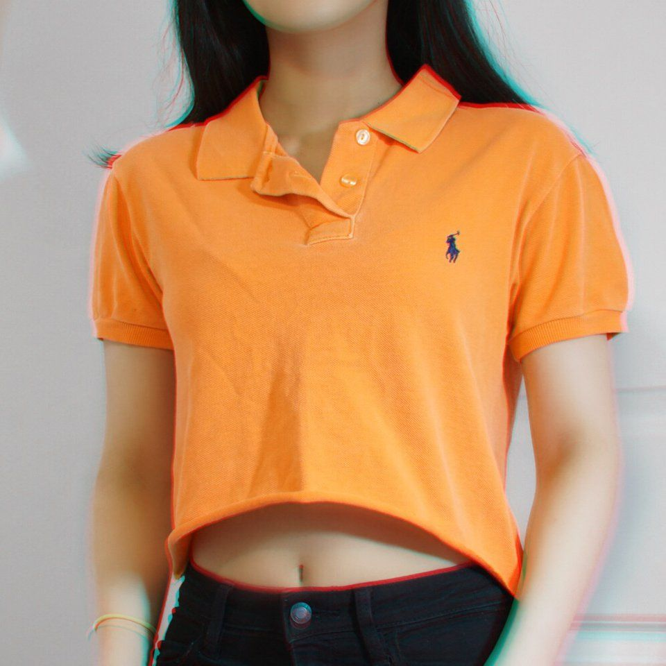 dde508479 VINTAGE ORANGE POLO CROP TOP This is a super cute