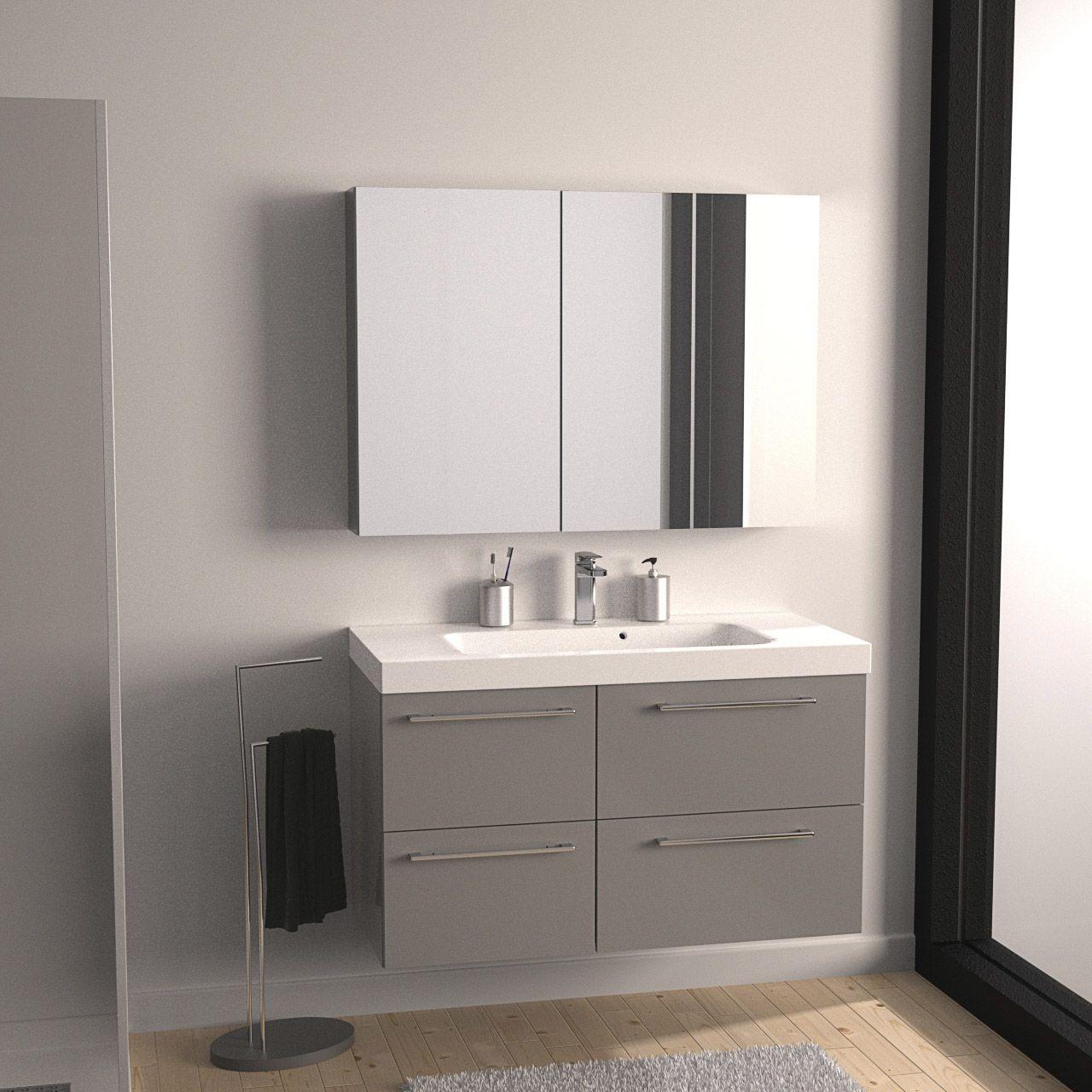 Meuble de salle de bains Remix gris galet n°3 106x48.5cm, 4 ...