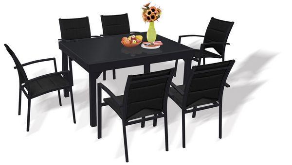 Salon de jardin avec rallonge Modulo noir 6 personnes   Déco ...