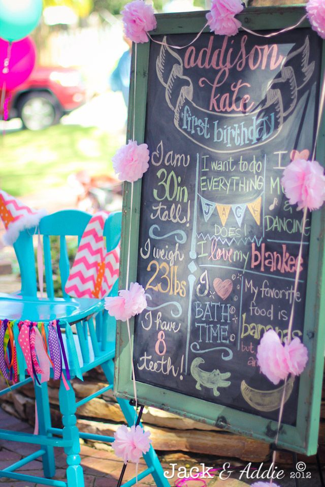 Baby Girl's first year on Chalkboard----cute!!!!!!!! I would have to get my sister to write on the chalkboard for me!