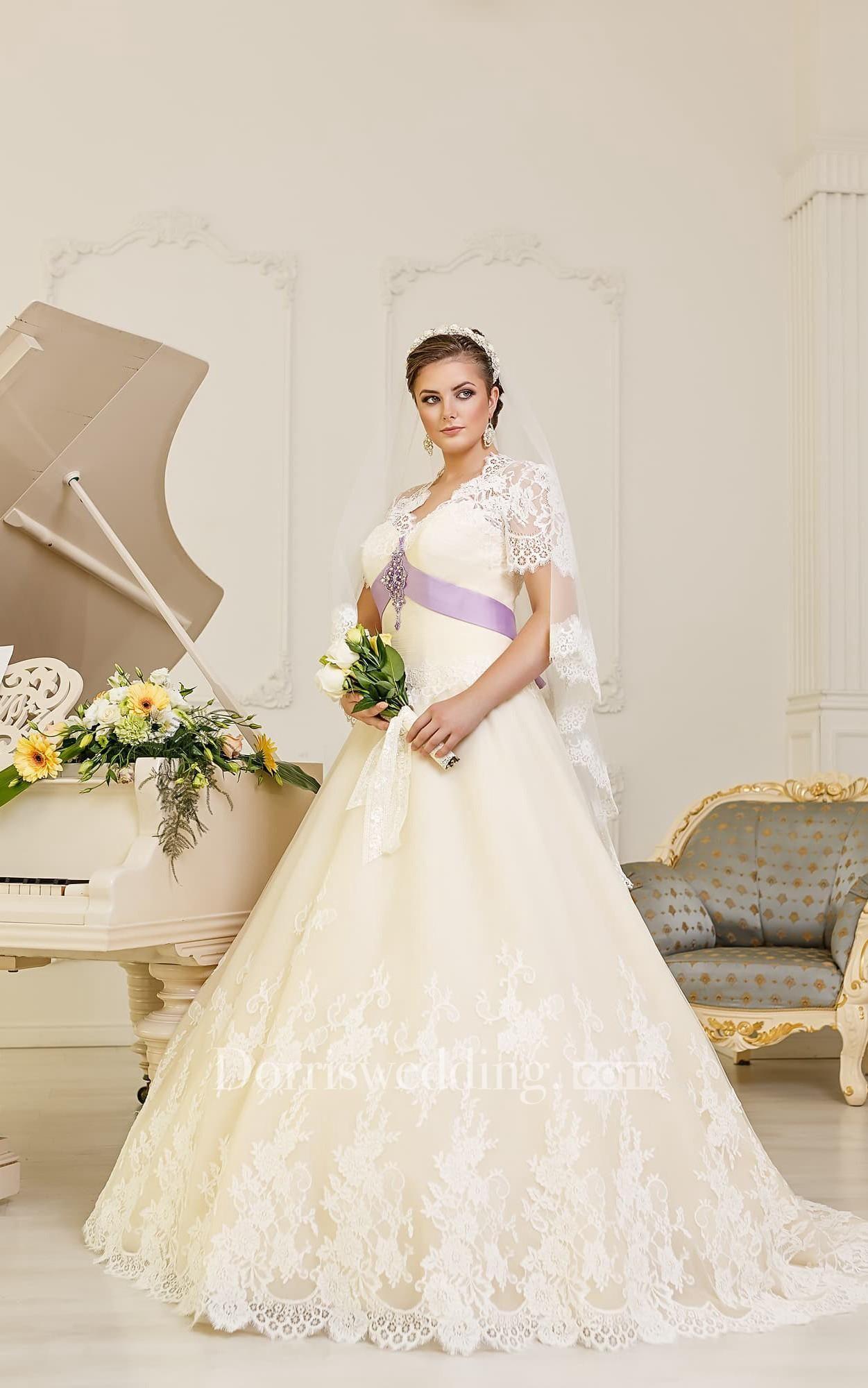 Lace cap sleeve a line wedding dress  Dorris Wedding  Dorris Wedding ALine FloorLength VNeck Cap