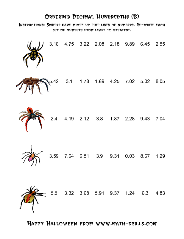 Halloween Math Worksheet -- Spiders Ordering Decimal Hundredths (B ...