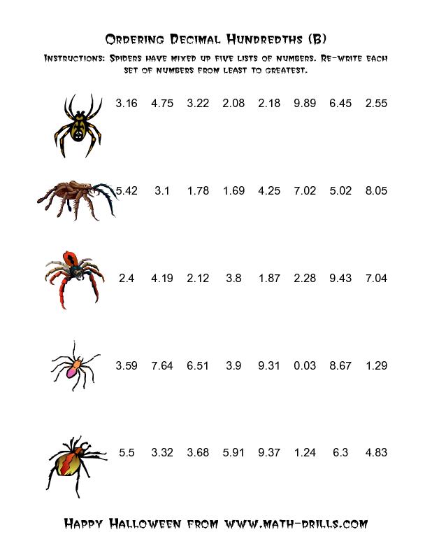 halloween math worksheet  spiders ordering decimal hundredths b  halloween math worksheet  spiders ordering decimal hundredths b