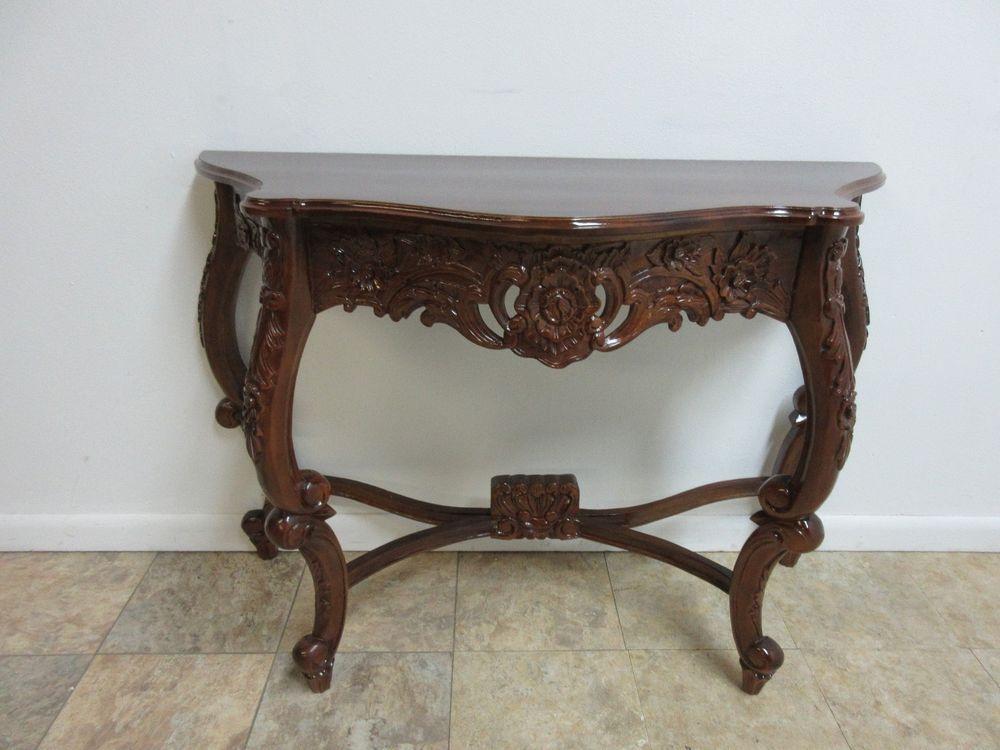 Antique Hand Carved Mahogany French Carved Hall Console Foyer Sofa Table Sofa Table Table Mahogany