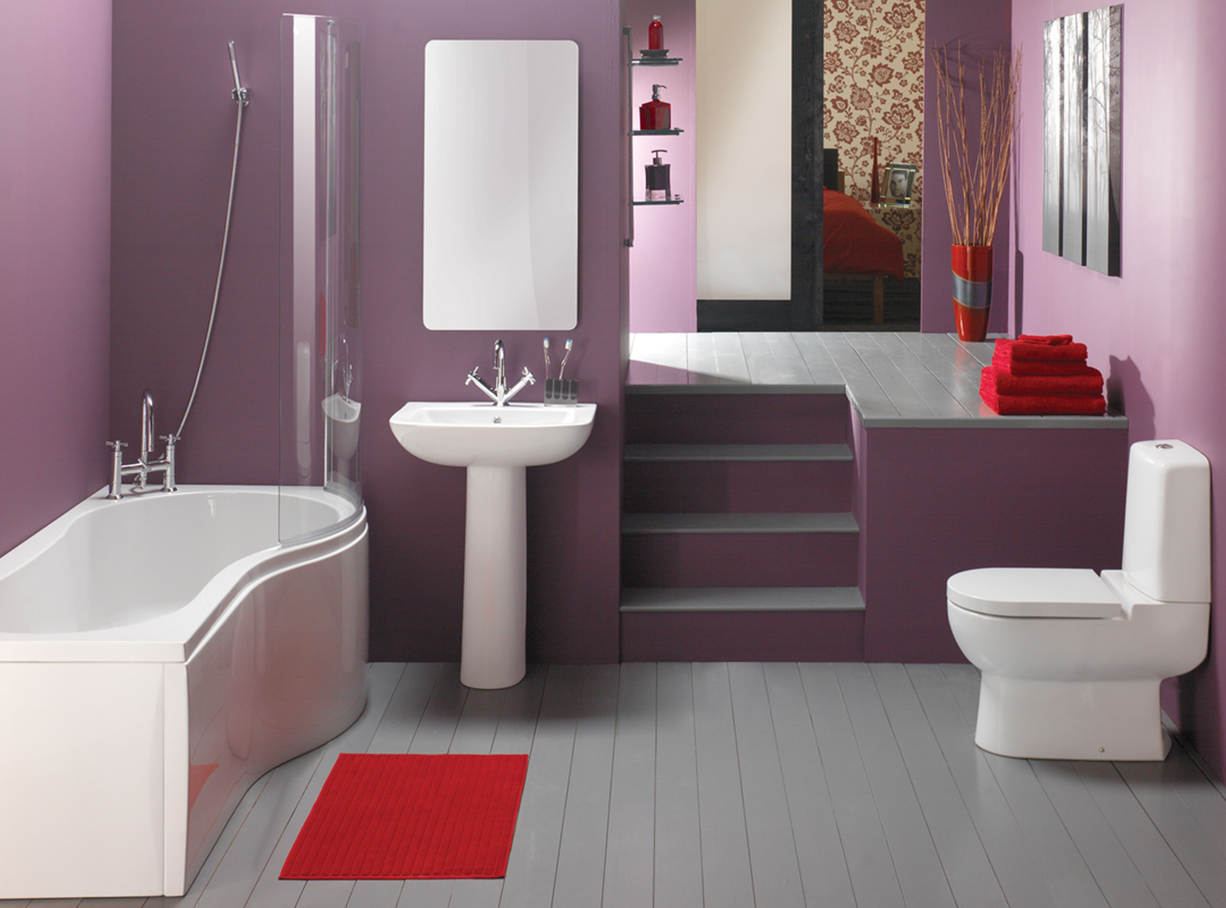 Bathroom colors themes decor ideas on pinterest shower - Bathroom Sleek Doorless Shower Design With Two Piece Toilet And Pedestal Sink In Minimalist Colourful Bathroom Sensational Bathroom Interior Idea With