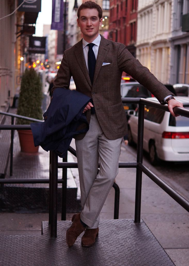 Brown Windowpane Tweed Blazer, Grey Trousers, and Chocolate suede Laceups