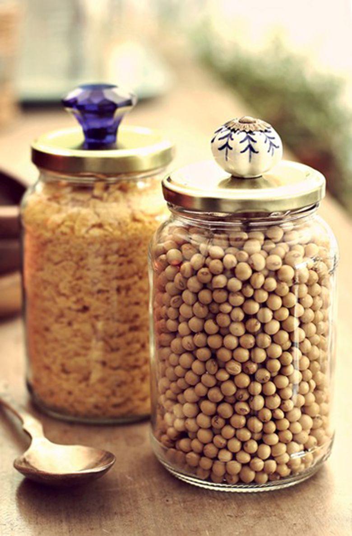 Diy Potes De Vidro Decorados Com Macram Outras Inspira Es  ~ Potes Decorativos Para Cozinha