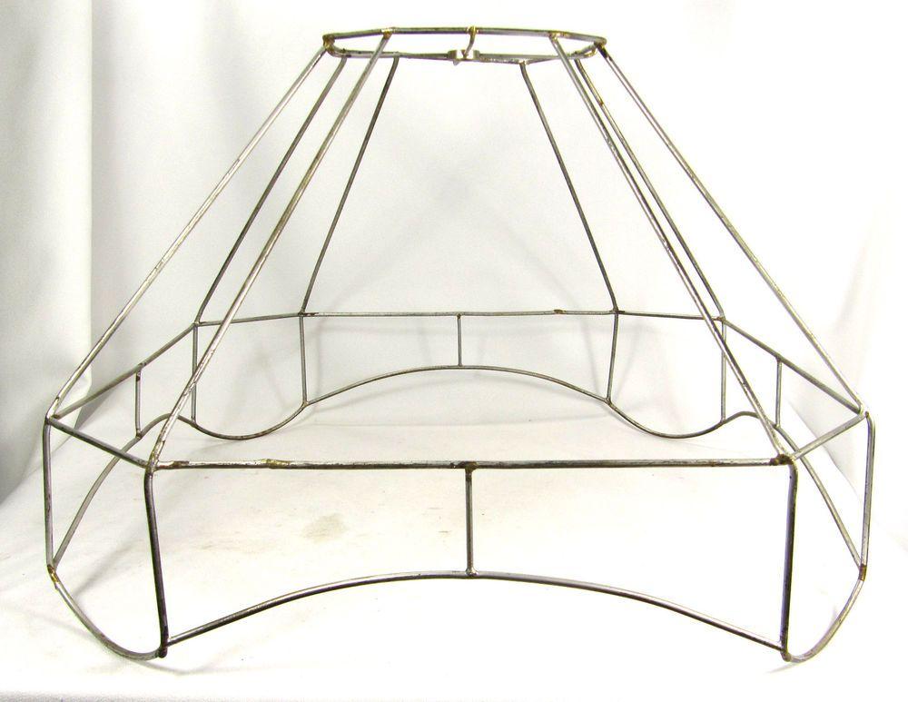 Lamp Shade Frame Antique Floor Large Fancy Cut Corner Square ...