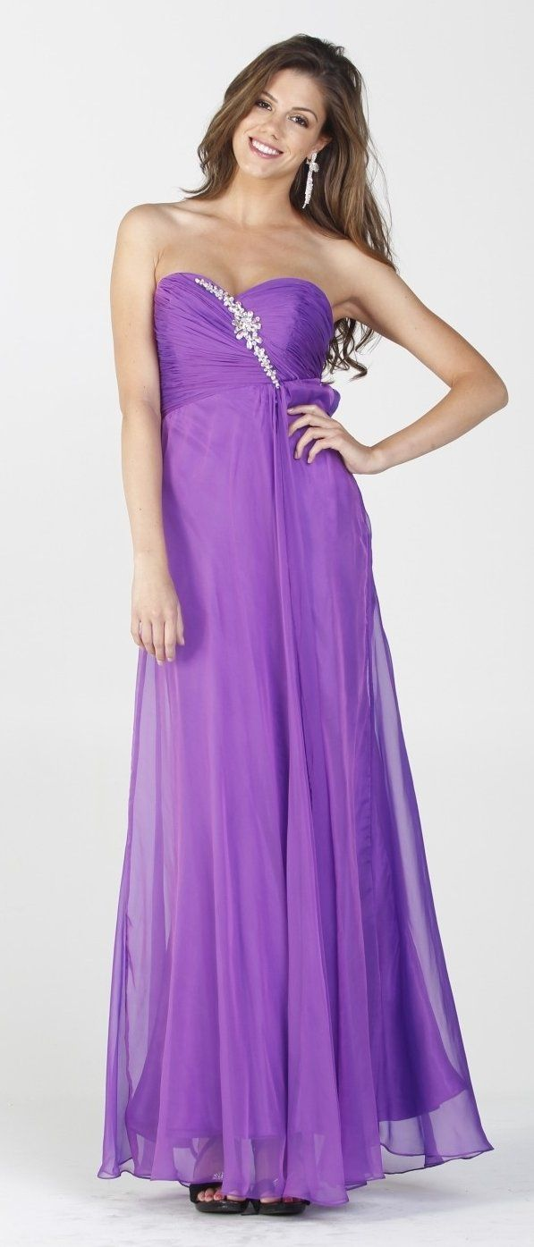 Chiffon open back purple prom dress strapless long open slit leg