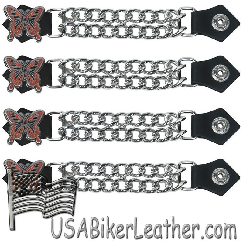 Set of Four Butterfly Vest Extenders with Chrome Chain - SKU USA-AC1048-DL