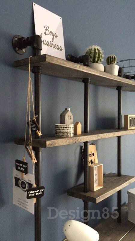 Planken Op Maat Bestellen.Steigerhouten Kast Met Vele Schappen Van Steigerhout En Zwarte