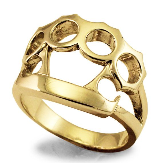 Brass Knuckle Duster Ring in Solid Bronze