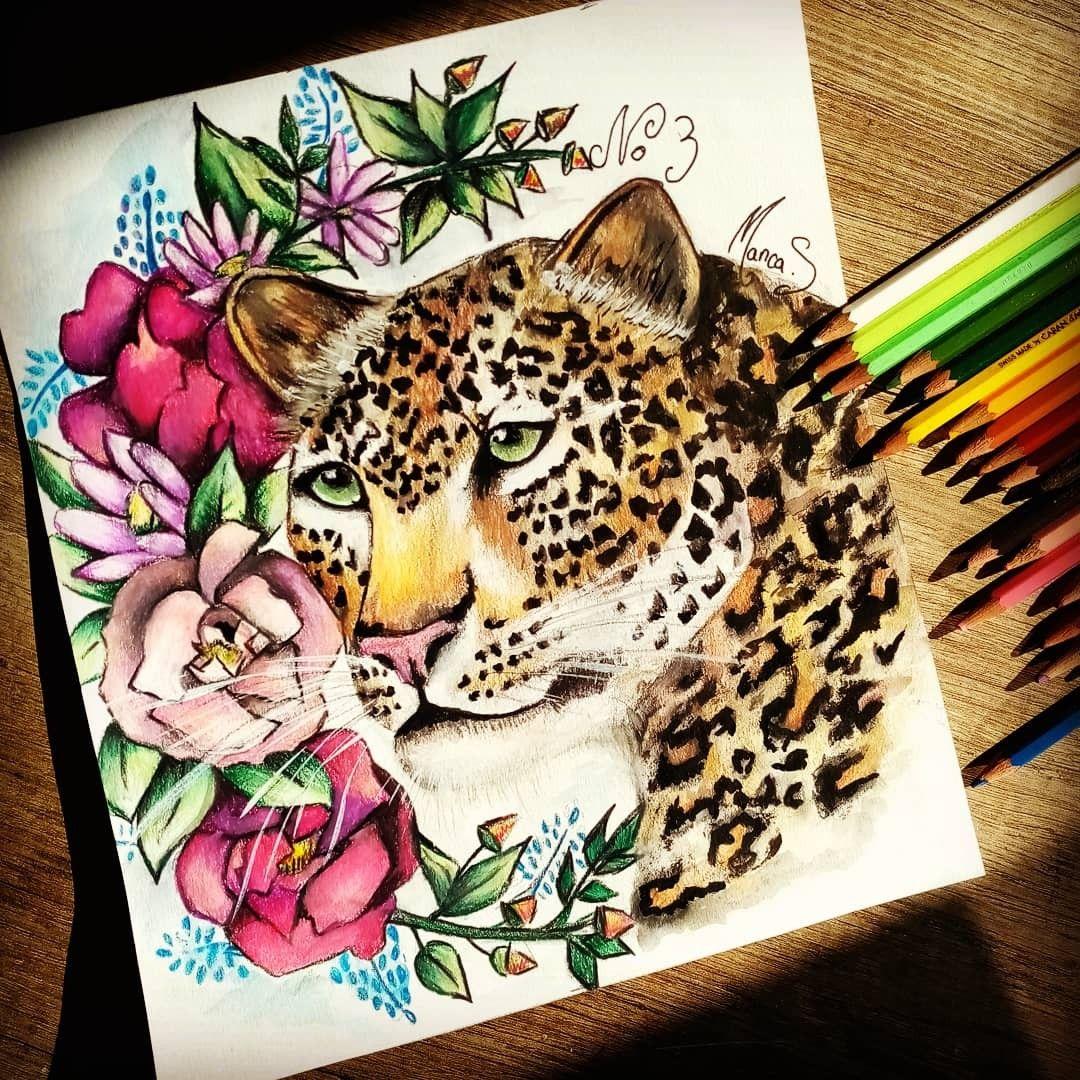 Léopard et fleurs, au crayons et aquarelles #artduconfinement #confinementcreatif #crayondecouleurs #aquarelles #leopard